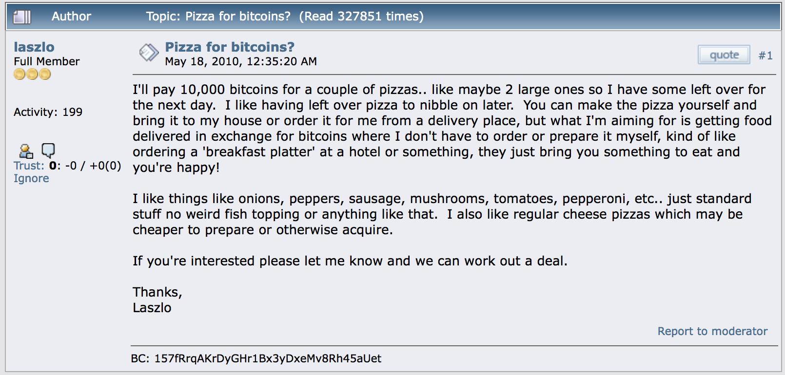 Bitcoin Pizza Günü - Sipariş