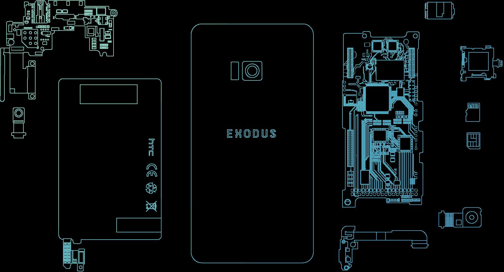 HTC Exodus'un Ürün Çizimleri